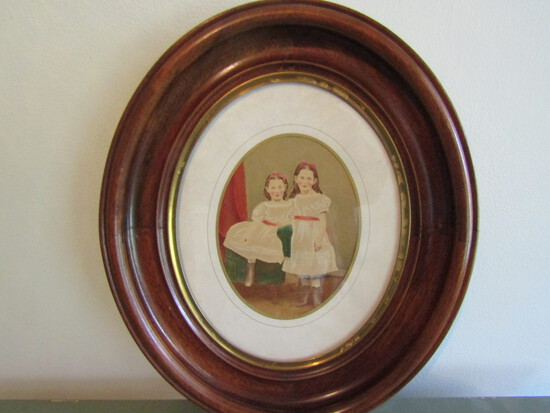 Antique Child Watercolor Painting in Oval Frame