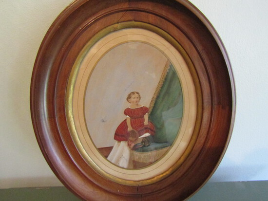 Antique Watercolor Portrait in Oval Frame