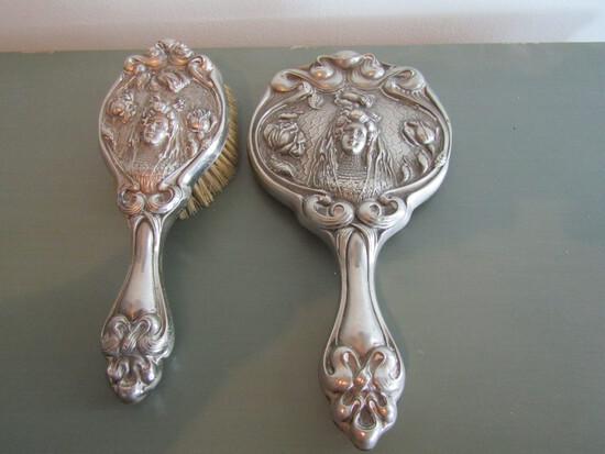 Art Nouveau Silveriron Brush and Mirror Set