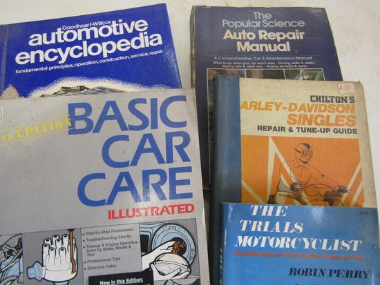 Lot of 5 Auto Books, Harley Davidson, Popular Science, Goodheart Wilcox