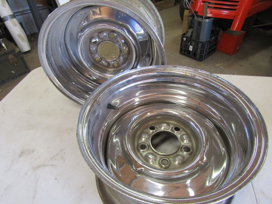 "Pair Chrome Rims, 15"", 4.25"" lug space"
