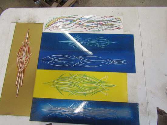 Lot of 6 Painted Pinstriping Plexiglass and Metal Pieces