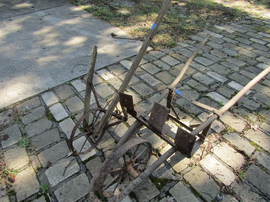 Lot of 2 Vintage Metal Wheelbarrow and Cultivator