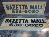 Lot of 2 Vintage Bazetta Mall Advertising Signs