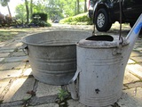 Vintage Galvanized Tub and Water Can