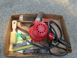 Vintage Electric Heat Gun, Scrappers and Brushes, Caulk Finishing Tool