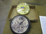Lot of 2, Clock and Thermometer