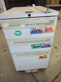 Metal File Cabinet on Wheels, 3 Drawer, with Contents