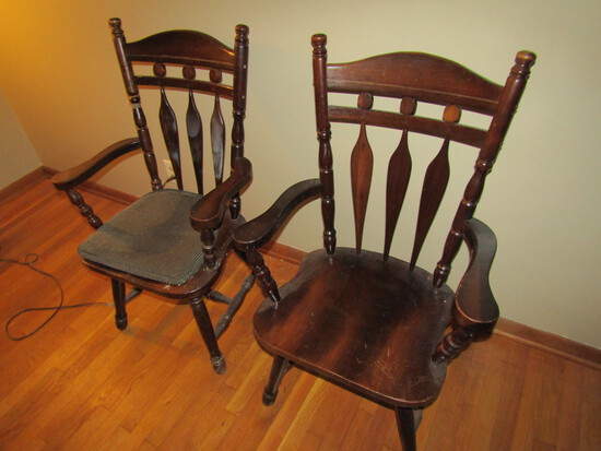 Lot of 2 Wood Chairs, 1 with Seat Cushion