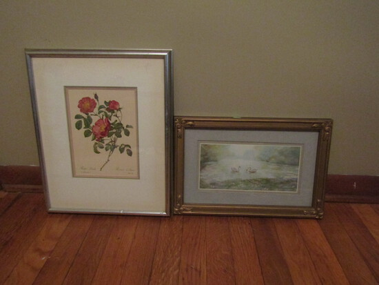 Lot of 2 Rosa Pumila Lithographic Floral signed and Swan Print unsigned