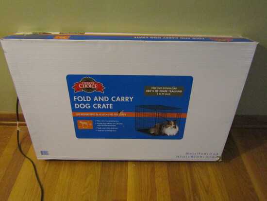 Great Choice Fold and Carry Dog Crate, Medium Dog, in Box