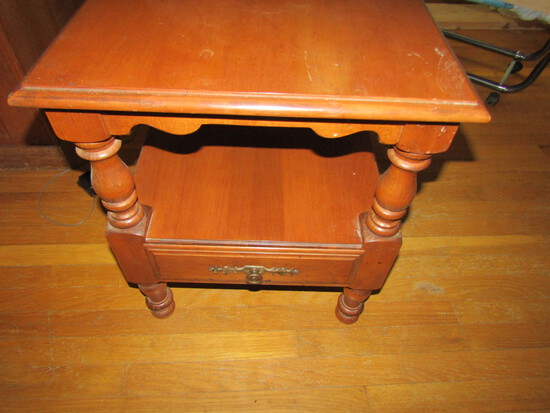 Vintage Wood End Table with Bottom Drawer
