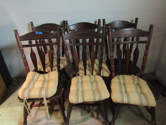 Lot of 6 Wood Chairs, 5 with Cushions