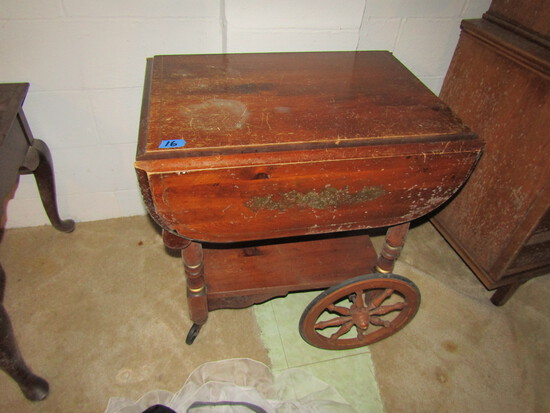 Vintage Wood Tea Cart