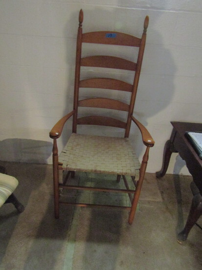 Vintage Wood Tall Back Chair with Woven Seat