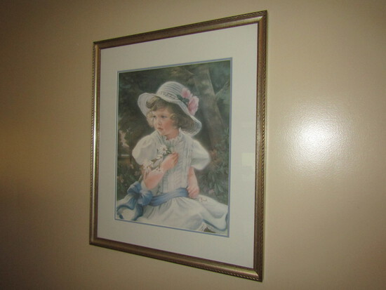 Sandra Kuck Signed Print Girl with Flowers, Framed