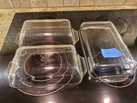 Lot of 3, 1-Cassarole and 2-Loaf Dishes, Fire King Clear