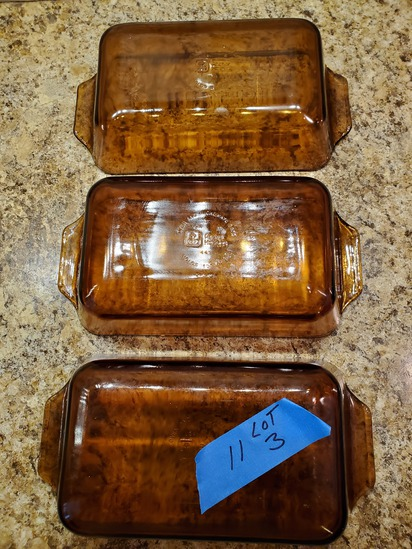 Lot of 3, Anchor Hocking Amber Loaf Pans
