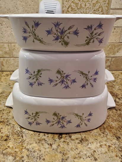 Lot of 3 Cassarole Dishes, Corning Ware, Purple Flowers
