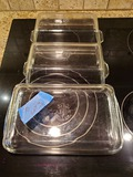 Lot of 3 1-Cassarole, 2-Loaf, Pyrex Clear