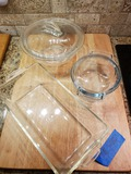 Lot of 4, Pyrex Dishware, 2 with Lids and Butcher Board