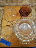 Lot of 9, Pyrex Cookware and Butcher Block