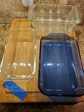 Lot of 6 Large Butcher Block and Pyrex Baking Dishes
