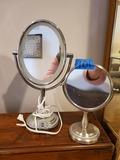 Lot of 2 Medium Lighted Vanity Mirror and Small Vanity Mirror