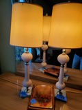 2 Marble Base Lamp, Wood Plaque