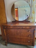 Antique Chest of Drawers on Casters with Mirror