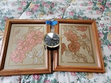 Set of 2 Painted Mirrors and Baby Ben Alarm Clock by Westcox