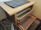 Wood Typing Stand with 2 Drawers