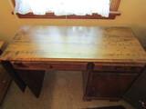 Wood Desk with Drop Leaf End