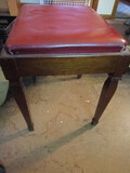 Vintage Stool with Cushioned Seat