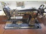 Electric Singer Sewing Machine #G0444374 on Treadle Stand