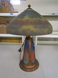 Reyers Table Lamp with Reverse Painted Shade, has a crack in Shade