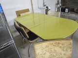 Retro Yellow Kitchen Table with 4 Chairs and Leaf