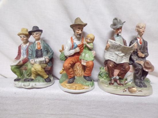 3 ceramic figurines