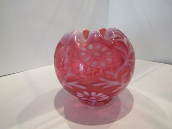 Fenton Cranberry Opalescent Daisy Fern Vase