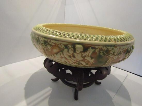Roseville Pottery Donatello Console Bowl, 1916 era