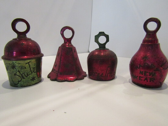 Lot of 4 Metal Bells Engraved with Christmas and New Years