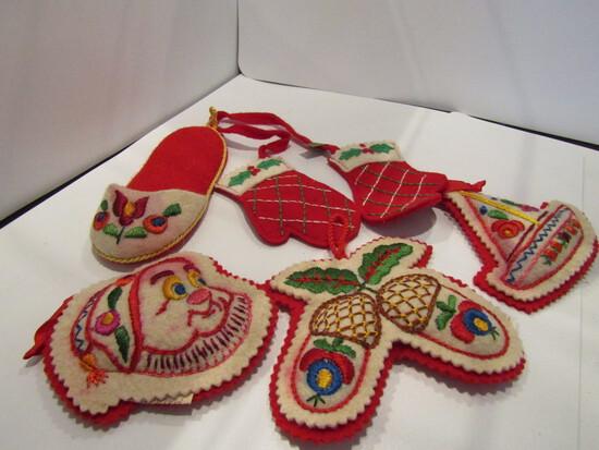 Lot of 5 Vintage Felt Hungarian Ornaments