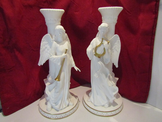 Lot of 2 Lenox Angel Candlesticks, 10 Inches Tall