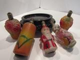 Antique Light Ornaments, Santa, Animal, Flowers