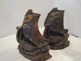 Vintage Metal Viking Ship Bookends