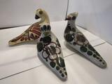 Set of 3, Folk Art Pottery Birds