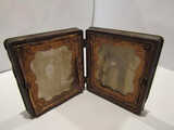 Antiques Gutta Percha with 2 Tin Photos, Man and Woman