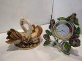 Harmony Kingdom Swan Trinket and Quartz Enamel Clock