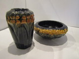 Set of 2 Pottery Vase and Bowl possibly Wellers