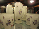Vintage Hansetta-Artware Frosted Glass Pitcher with 6 Glasses Set, Handpainted